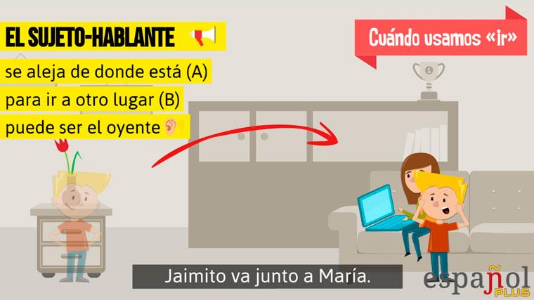 Uso del verbo «ir»: Jaimito va junto a María